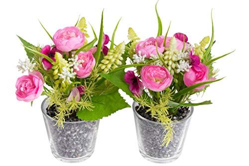 Flora-Seta GmbH künstliches Blumen-Arrangement im Glas (2 Stück) (Creme-rosa, Frühlingsblumen)
