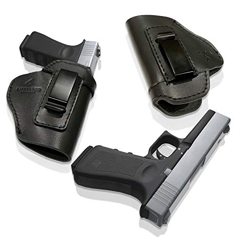 LifeForce Tactical IWB Leather Holster for Concealed Carry, Glock 17 19 22 23 32 33 36 43, S&W M&P Shield 9mm, Springfield XD-S, Similar Size Beretta, H&K, Kel-Tec, Ruger, Taurus (Black, Right Handed)