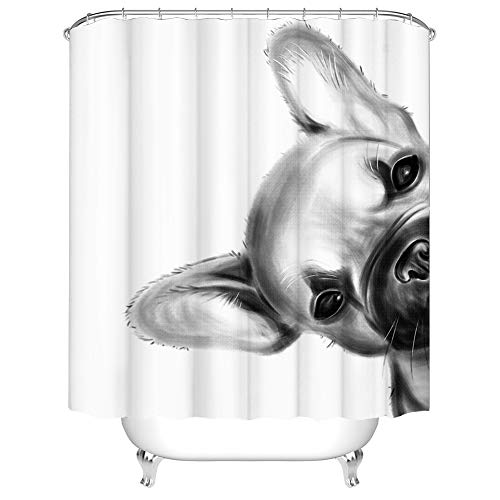 French Bulldog Shower Curtain Fabric Cute Pet Dog Bath Curtain Black and White Bathroom Decor with Hooks 72'×72' Simple Pattern Unisex