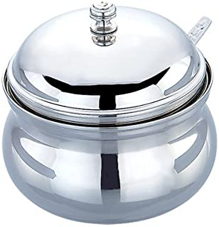 Dibha Classic Ghee Pot/Oil Container, 250 ML, Stainless Steel, Silver with Spoon
