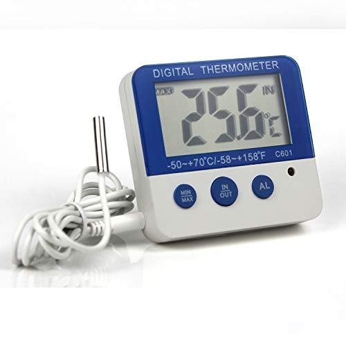 Ytian Termómetro digital para congelador/frigorífico con alarma LED, indicador de alarma máx./mín,...