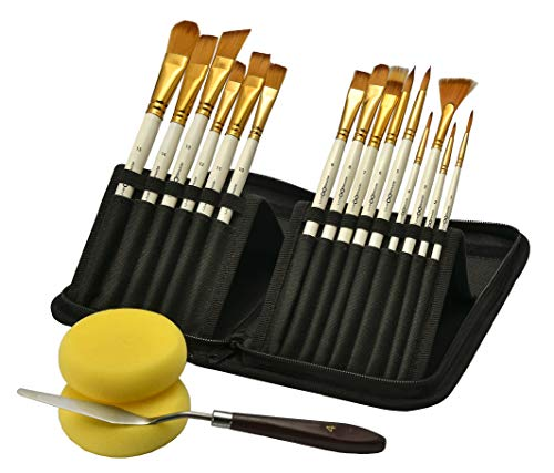 Paint Brushes, Painting Supplies, 15 Acrylic Brushes, 1 Palette Knife & 2 Foam | Gift for Kids, Beginners, Adults & Professional Artists | Paint Brushes for Acrylic Painting, Oil, Watercolor & Gouache