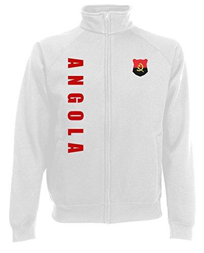 Angola Sweatjacke Jacke Trikot Wunschname Wunschnummer (Weiß, XXL)
