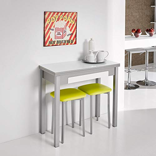 fanmuebles - Mesa desplegable de Cocina Cristal Blanco óptico, con cajón Andrea - 90 x 45 cm