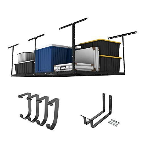 FLEXIMOUNTS 4x8 Overhead Garage Storage Rack w/Hooks Adjustable Ceiling Storage Rack, 96