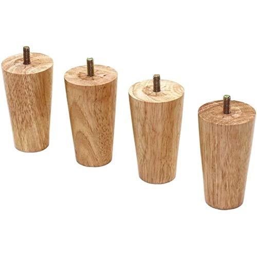 4 patas de muebles, patas de mesa de madera, patas de sofá, juego de 4 patas de sofá de madera, patas sólidas de repuesto para muebles, sillón, patas de armario, perno con placa(Size:25cm/9.8in)