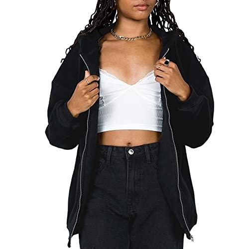 Sudadera de mujer con capucha, sudaderas Slim Jersey de manga larga abrigo camiseta con cremallera capucha con bolsillos Top anchos Outfit, Negro , S