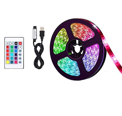 LED Streifen RGB Flexible 5M LED Licht Streifen SMD 5050 LED Lichtleiste mit USB-Kabel, Fernbedienung, 5V DC Lichtleisten, LED Band, LED Stripes für Beleuchtung Deko, Küche, Terrasse, Party