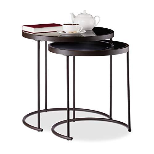 Relaxdays, braun/schwarz Beistelltisch Schwarzglas 2er Set, runde Satztische, Metallgestell, Tischset, HxD: 50 x 50 cm