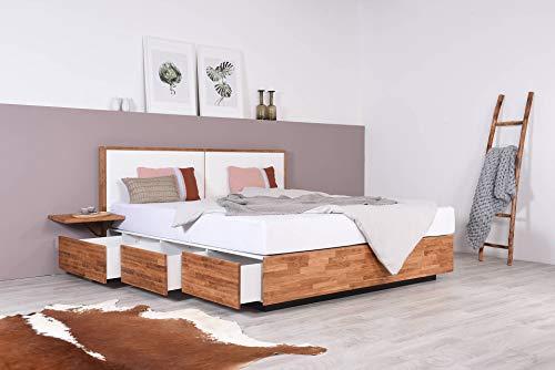 SuMa Wasserbett mit Schubkästen in Boxspringoptik + Nachttisch + Wandpaneel Duetto V (200 x 220 cm, Ohne Beruhigung)