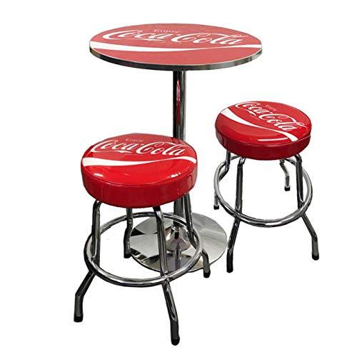 コカコーラ ラウンドテーブル&スツール 2脚セット(レッド) COCA-COLA ハイテーブル ハイスツール