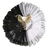 Baile de Ballet para niños Disfraces de Baile de Cisne en Blanco y Negro Vestido de Ballet para niñas Falda de tutú