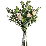huaao 2pcs Ramo de Flores Artificiales Rosa y Aliento del bebé Artificiales Eucaliptos Falsas Plantas Bouquets Flor Nupcial Decoración Jarrón Boda arreglo Floral Fiesta Oficina Mesa Hogar, Champagne