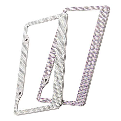 VICASKY 2pcs Bling License Plate Frame Luxury Handcrafted Car Frame Plate Rhinestone with Ignition Button Bling Unique Gift for American Car