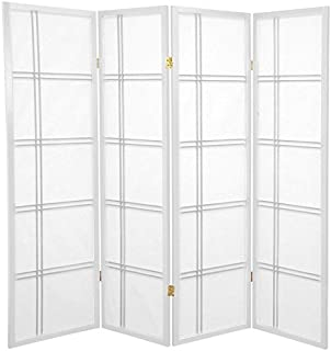 Oriental Furniture 5 ft. Tall Double Cross Shoji Screen - White - 4 Panels