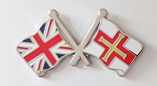1000 Flags Badge à épingle avec drapeau de Guernesey et drapeau du Royaume-Uni