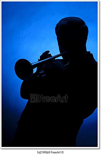Trumpet Player Silhouette Against Blue Spot Light Paper Print Wall Art (54in. x 36in.)