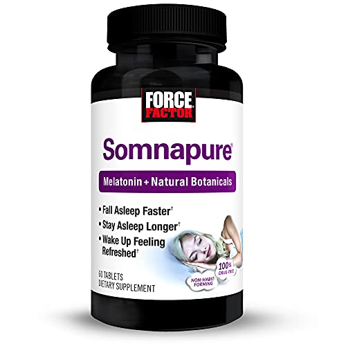 Somnapure Drug-Free Sleep Aid for Adults with Melatonin, Valerian Root, and Lemon Balm, Non-Habit-Forming Sleeping Pills, Fall Asleep Calm at Night, Wake Up Refreshed, Force Factor, 60 Tablets