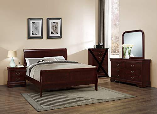 GTU Furniture Classic Louis Philippe Styling Deep Cherry 4Pc Queen Bedroom Set(Q/D/M/N)