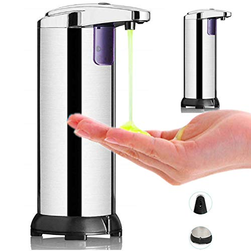 HJ Dosatori per sapone liquido, Dispenser di Sapone Automatico con Acciaio Inossidabile Sensore a Infrarossi, Base Impermeabile, Interruttore Regolabile,Una pulsante per Bagno,cucine,Hotel, Ristorante