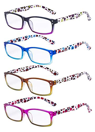 Eyekepper dames leesbril 4-pack, schattig puntpatroon beugel leesbril +0.50 4-delige mix.