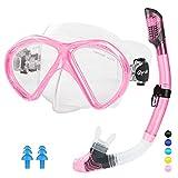 Glymnis Gafas de Buceo Gafas Snorkel Seco Completo Kit de Snorkel Máscara de Buceo y Snorkel Seco Set Máscara Set de Snorkel Profesional para Adultos y Jóvenes Hombre y Mujer Rosa