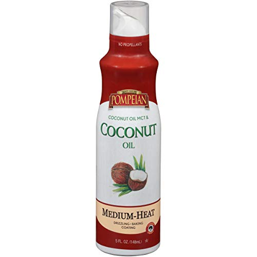 Pompeian Coconut Oil Non-Stick Cooking Spray, Subtle Coconut Flavor, Perfect for Seafood and Baking Coating, Naturally Gluten Free, Non-Allergenic, Non-GMO, No Propellants, 5 FL. OZ., Single Bottle