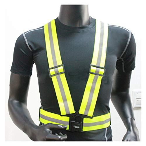 Chaleco de corriente reflectante y bandas de tobillo pulseras brazaletes para la noche de seguridad correr ciclismo jogging senderismo chaqueta reflectante de alta visibilidad (Color : Yellow)