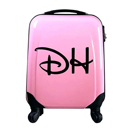 Personalised Kids Disney Inspired Initial Name Suitcase Luggage Sticker (Medium 35cm Width, Bright Yellow)
