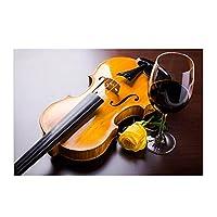 Pknbfw ウォールアートホーム装飾キャンバスプリントロマンチックなバイオリンローズと赤ワインの絵画キッチンの現実主義者の写真-50x70cmフレームなし