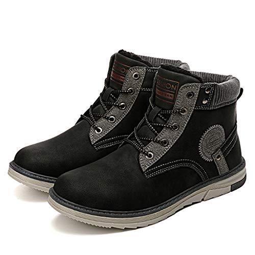 Men's Walking Boots,Wool Lining Low Tops Booties Outdoor Leisure Work Cotton Shoes,Black- 44/UK 9.5/US 10