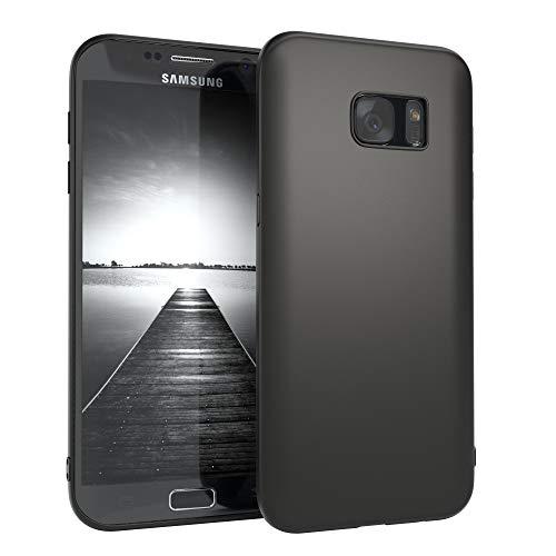 EAZY CASE Handyhülle Silikon mit Kameraschutz Samsung Galaxy S7 Edge in schwarz matt, Ultra dünn, Slimcover, Silikonhülle, Hülle, Softcase, Backcover