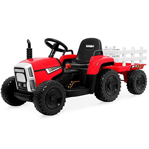 Kidzone 12V 7AH EVA Treaded Tires Kids Battery Powered Electric Tractor with Trailer Toddler Ride On Ground Loader Twin Moto w/ 2 Speeds 7-LED Lights USB & Bluetooth Audio, Red