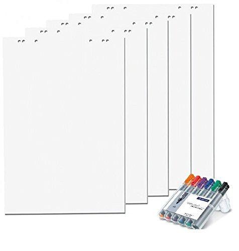 5x Flipchartblöcke + 6er Marker Set, Weiss Blanco, je Block 20 Blatt 69x99 cm, 6 fach Lochung, perforiert, Papier für Flipchart (5 Flipchartblöcke + 6er Marker, blanco)