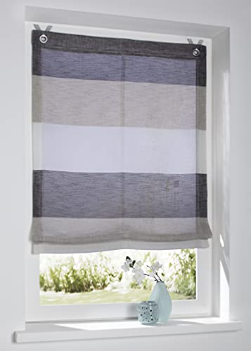 Raffrollo Ösenrollo Marit Creme/beige/grau Breite 80 x Höhe 120 cm