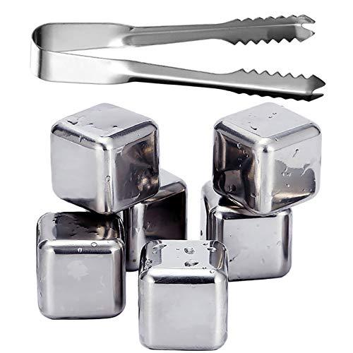 fuxunamz Eiswürfel-Set(1 Pinzetten, 6pcs Eiswürfel, mit Aufbewahrungsbox), 304 Edelstahl, Wiederverwendbar, Whisky Steine Ice Cubes, Bar Accessoires, Kühlsteine, Cooling Metall Würfel