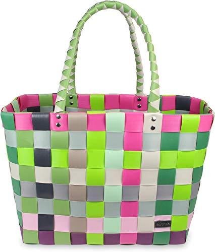 normani Kunststoff Flechtkorb - optimal als Einkaufs- oder Strandkorb geeignet Farbe Classic/Blossom