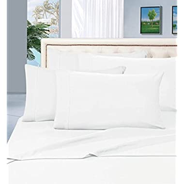 True Luxury 100% Egyptian Cotton - Genuine 1000 Thread Count 4 Piece Sheet Set- Color White,Size Queen - Fits Mattress Upto 18'' Deep Pocket