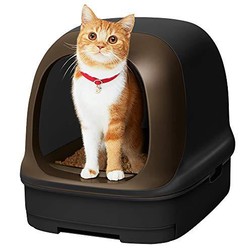 [Amazon限定ブランド] スマイリーBOX 猫用トイレ本体 ニャンとも清潔トイレセット [約1か月分チップ・シート付] ドームタイプ カフェブラウン&チャコール (猫ちゃん想い設計) 猫砂