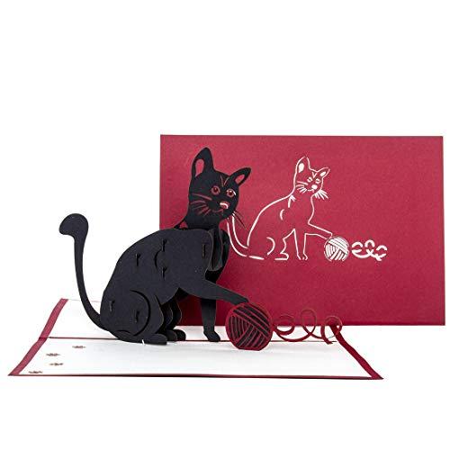 """Pop-Up Karte\""""Black Cat\"""" - 3D Geburtstagskarte Katze für alle Katzenliebhaber – als Geschenk, Dekoration, Geschenkidee, Einladungskarten zum Geburtstag, Katzen Deko & Geschenkverpackung"""