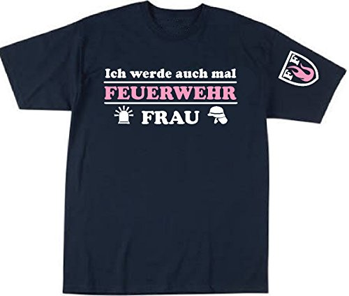 Feuer1 T-shirt pour enfant avec inscription en allemand « Ich werde auch mal Feuerwehr Frau » et armoiries FF sur les manches (blanc/rose) 104 cm bleu marine