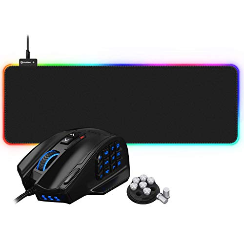 UtechSmart Venus MMO Gaming Mouse and RGB Gaming Mouse Pad Bundle