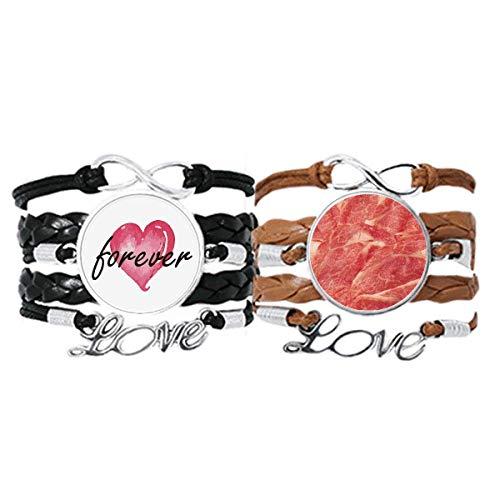 Bestchong Rollos de cordero crudo carne alimentos textura pulsera correa de mano cuerda de cuero Forever Love pulsera doble conjunto