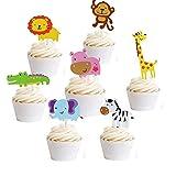 Hather 35 Stück Cupcake Deko Muffin Torten Kuchen süßer Zoo/Dschungel-Themed Tier Kuchendeckel...