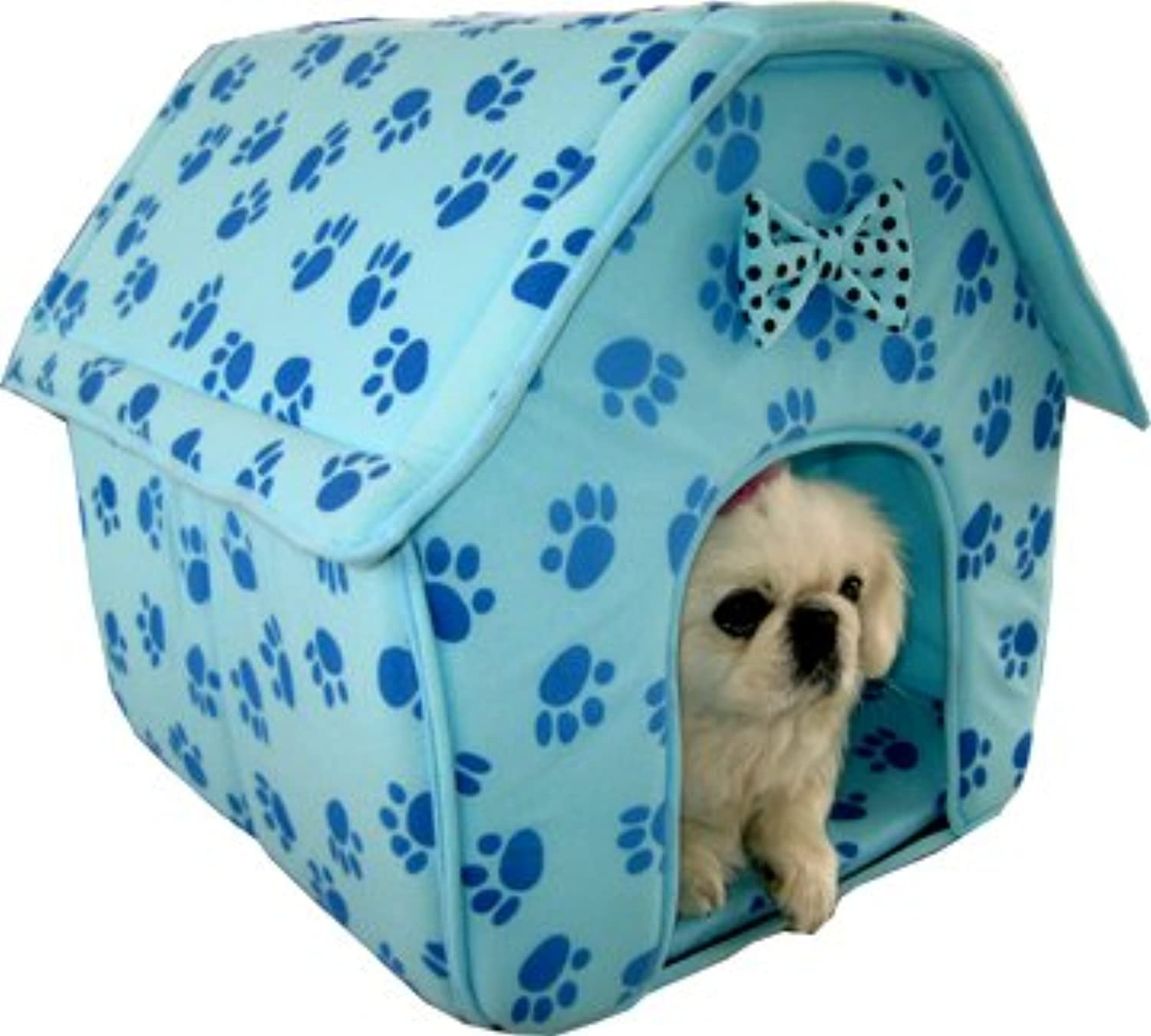 Cat Dog Pink Collapsible Paw Prints Pet House bluee