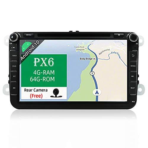 """JOYX PX6 Android 10 Autoradio Compatibile con VW Skoda SEAT Golf Polo Jetta Passat Touran - 4G+64G - 2 Din - Camera Canbus GRATUITI - 8"""" - Supporto DAB HDMI 4K-Video volante 4G WiFi CarAutoPlay BT5.0"""