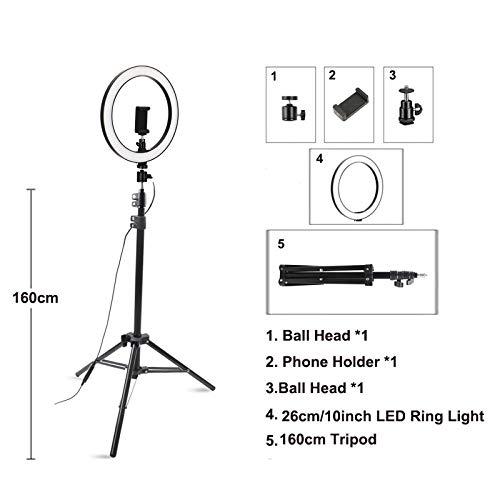 Fotografía LED de 10 Pulgadas Selfie Anello di Luce Della 160 centimetri Treppiede para Trucco Video Dal Vivo-Lámpara 10in Tripo 1.6M
