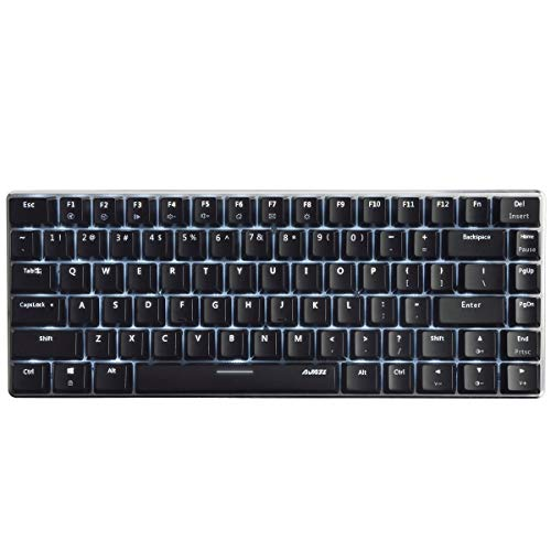 Ajazz AK33 Geek Mechanical Keyboard, 82 Keys Layout, Black Switches, White LED Backlit, Aluminum Portable Wired Gaming Keyboard, Pluggable Cable, for Games Work and Daily Use, Black