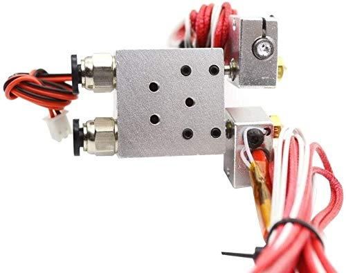 V6 Metal 12V/24V Dual Extruder J-Head Hotend Kit 2 in 2 Out Double Head Remote Bowden HotEnd with Cooling Fan 1.75/0.4MM Nozzle 3D Printing Accessories (Size : 03mm 175mm 12V)