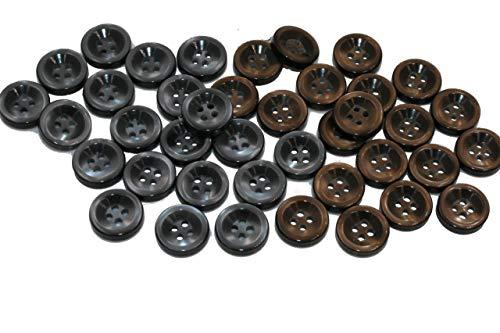 40 stuks kleine 11 mm grijs bruin 4 gat glinsterende knopen hemd blouse polo shirt